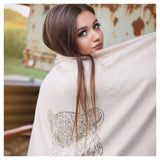 Crystal embellished cashmere pashmina shawl, off white with cheetah animal print