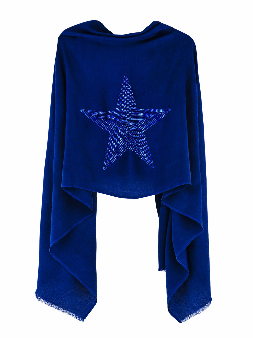 Crystal embellished cashmere pashmina shawl, blue with star
