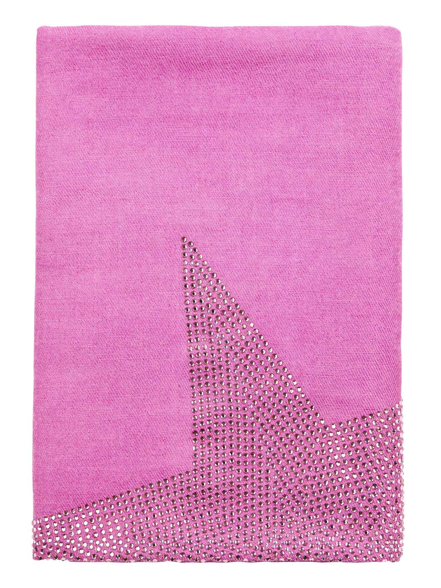 Crystal embellished cashmere pashmina shawl, pink with star