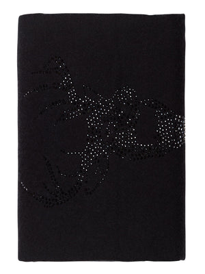 Crystal embellished cashmere scarf, black with stag (deer)
