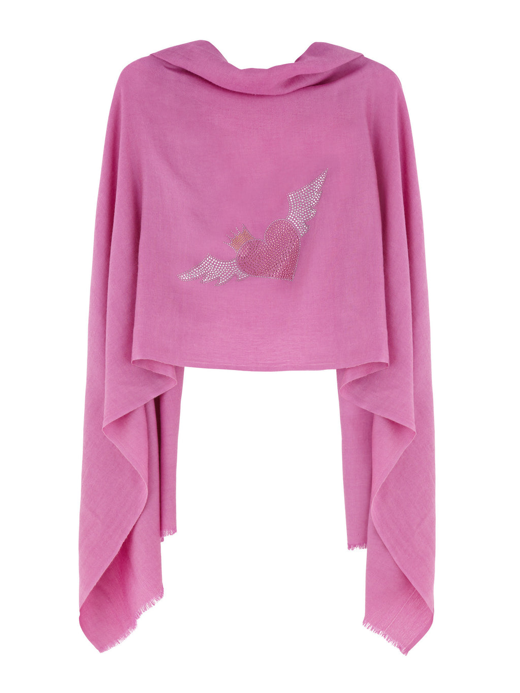 Crystal embellished cashmere pashmina shawl, pink with heart, crown and wings