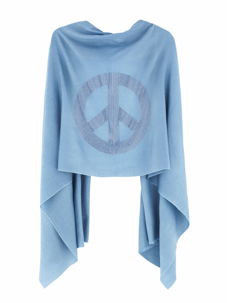 Crystal embellished cashmere pashmina shawl, blue with peace sign symbol