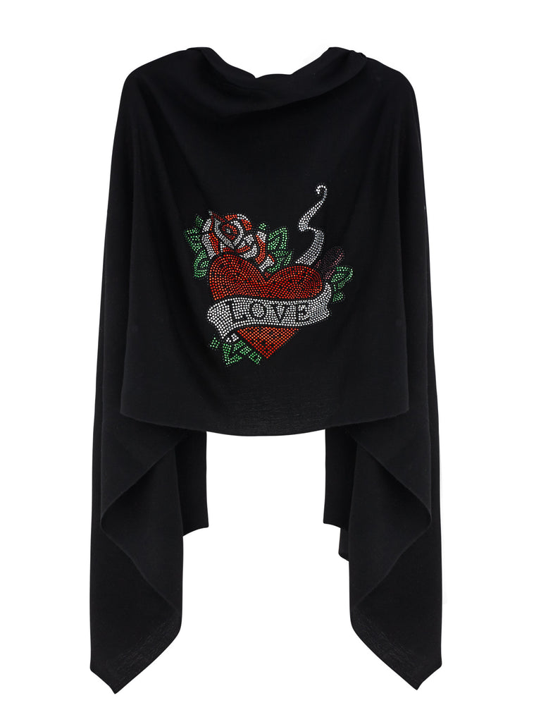 Crystal embellished cashmere pashmina shawl, black with red heart