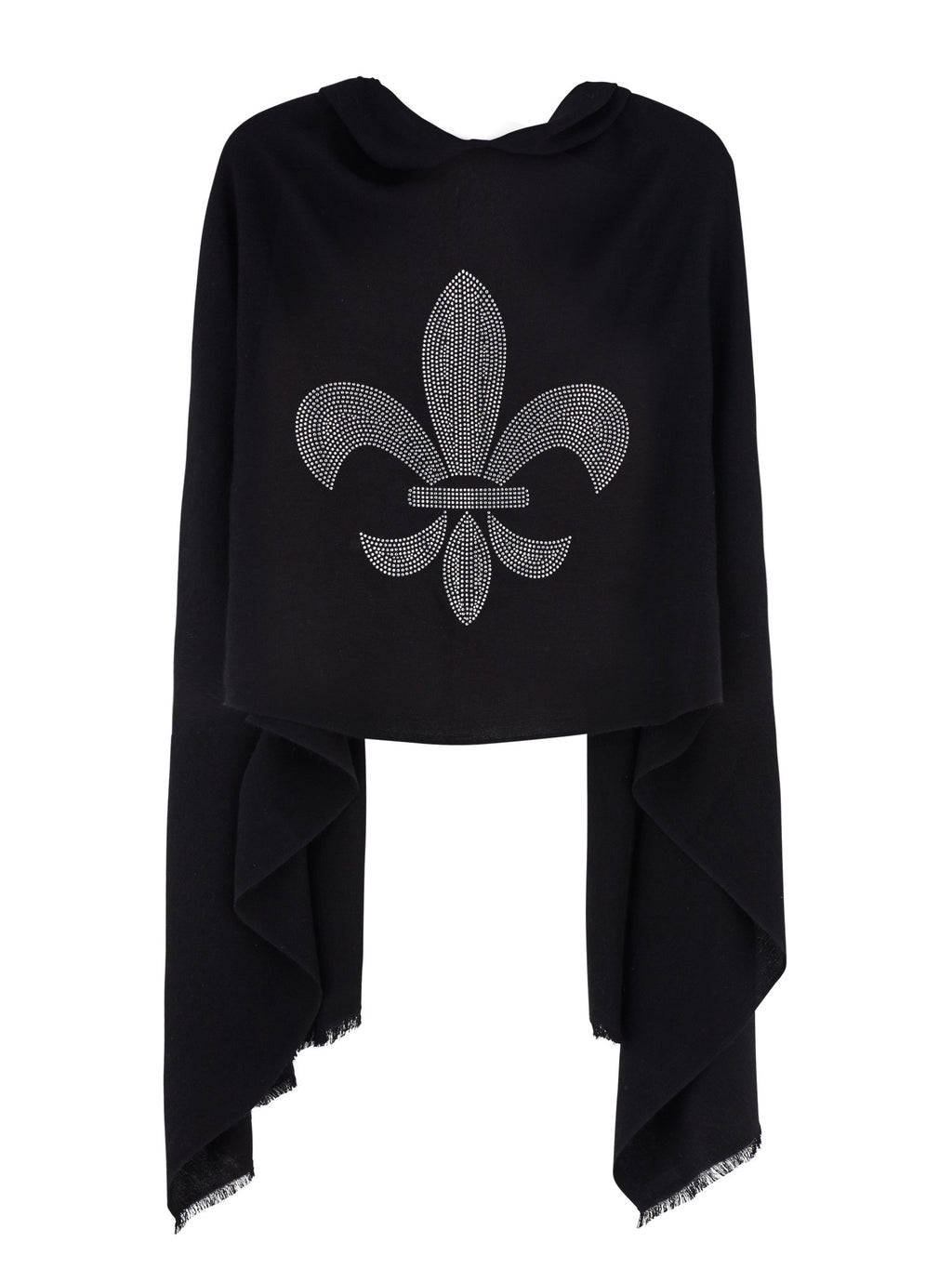 Crystal embellished cashmere pashmina shawl, black with fleur de lys