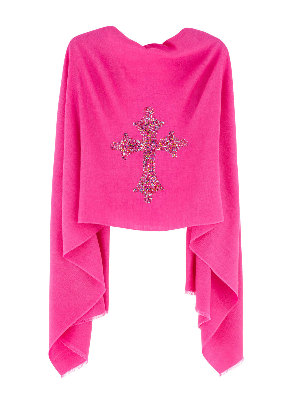 Crystal embellished cashmere pashmina shawl, pink with cross