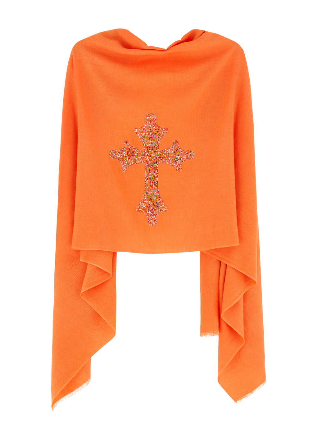 Crystal embellished cashmere pashmina shawl, orange with cross