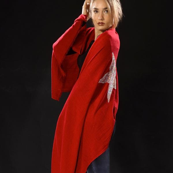 Cashmere Pashmina STAR (red)