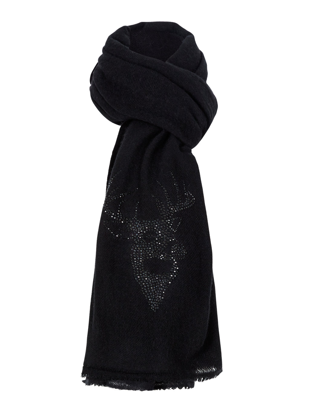 Woven Winter Cashmere Scarf STAG  (black)