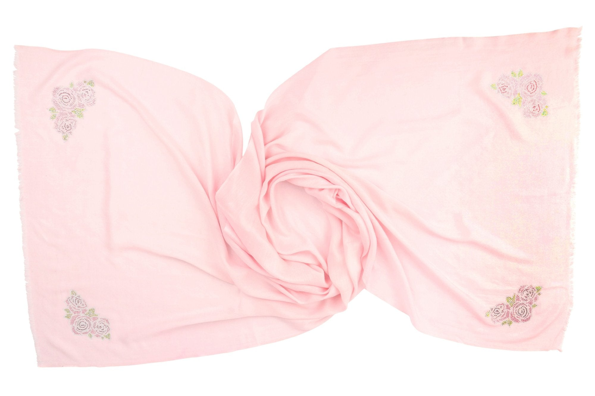 NEW: Cashmere Pashmina ROSES (pale pink)