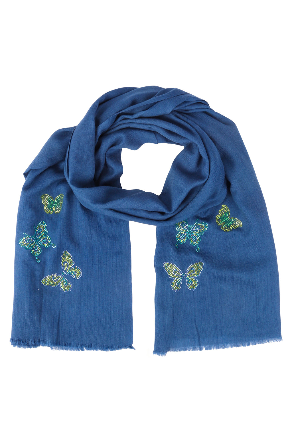 Cashmere Pashmina BUTTERFLY (mid blue)