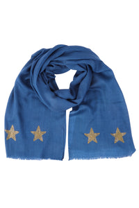 NEW: Cashmere Pashmina STARS (blue/gold)