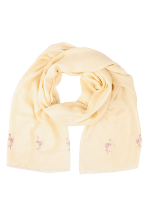 Cashmere Pashmina FLAMINGOS (off white)