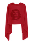 Crystal embellished cashmere pashmina shawl, red with rebel sign symbol