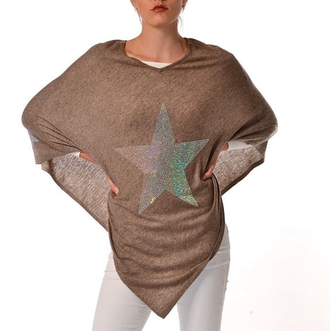SALE - STAR Crystal embellished cashmere poncho