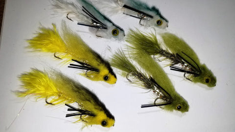 Mini Articulated Baitfish, Streamer Fly SELECTION, 6 Mini Bait Fish