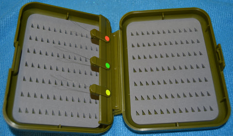 Fly Box with Threader System -  Anglers Image  -  Triangle Slit Foam - 3 Sizes  - Olive