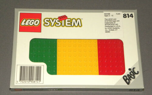 1993 LEGO System Set 814 Basic 3 Base Plate Building Plates Red Yellow Green NEW