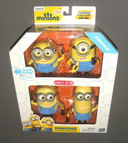 MINIONS Movie Deluxe Action Figure Set w Minion Bob, Kevin, Stuart & Dave