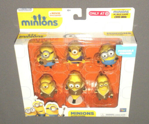 "MINIONS Movie Action Figure Set 6 Poseable Minion Figures 3"" Banana Bob, Asian"