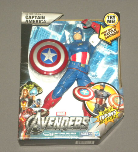 "Ultra Strike Captain America Action Figure w Battle Sounds Throws Shield 10"" NEW"