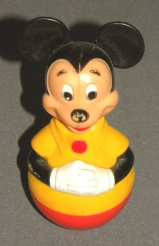 "Vintage Disney MICKEY MOUSE Bopper Bobble Toy 4.5"" Plastic Figure 1975"