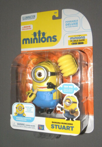 MINIONS Movie Banana Munching Stuart Deluxe Poseable Minion Action Figure