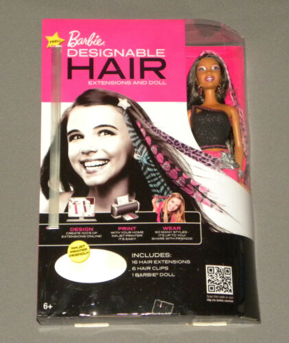 2011 Mattel Barbie Doll w Printable Designable Wearable Hair Extensions Black