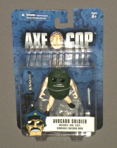 "Axe Cop 4"" Action Figure Avocado Soldier w Gun, Flute & Removable Unicorn Horn"