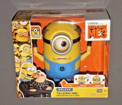 Minion Deluxe Talking Mel Despicable Me 3 ME3 Figure w Free Moving Eyes & Arms