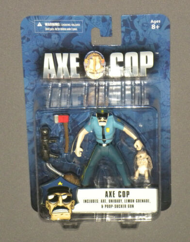 "Axe Cop 4"" Action Figure w Unibaby, Lemon Grenade & Poop Sucker Gun NEW MOC"