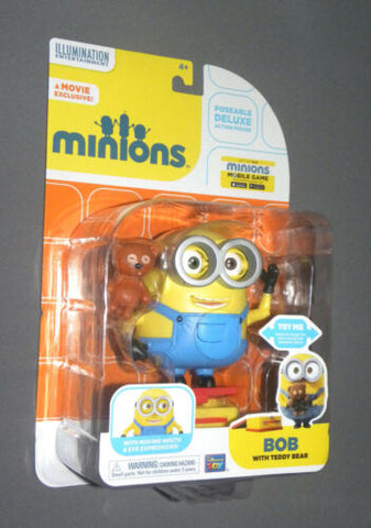 MINIONS Movie Minion Bob with Teddy Bear Deluxe Poseable Action Figure, Lunchbox