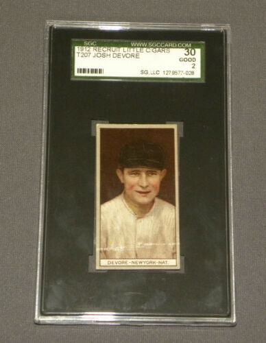 Vintage 1912 Recruit Little Cigars Baseball Card T207 Josh Devore Sgc Graded 30