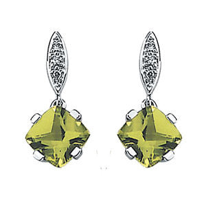 14KW Peridot and .04 CTW Diamond Drop Earrings