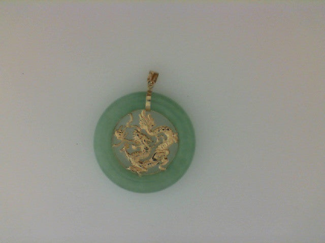 Jade Pendant with 14K Yellow Gold Dragon and Bale