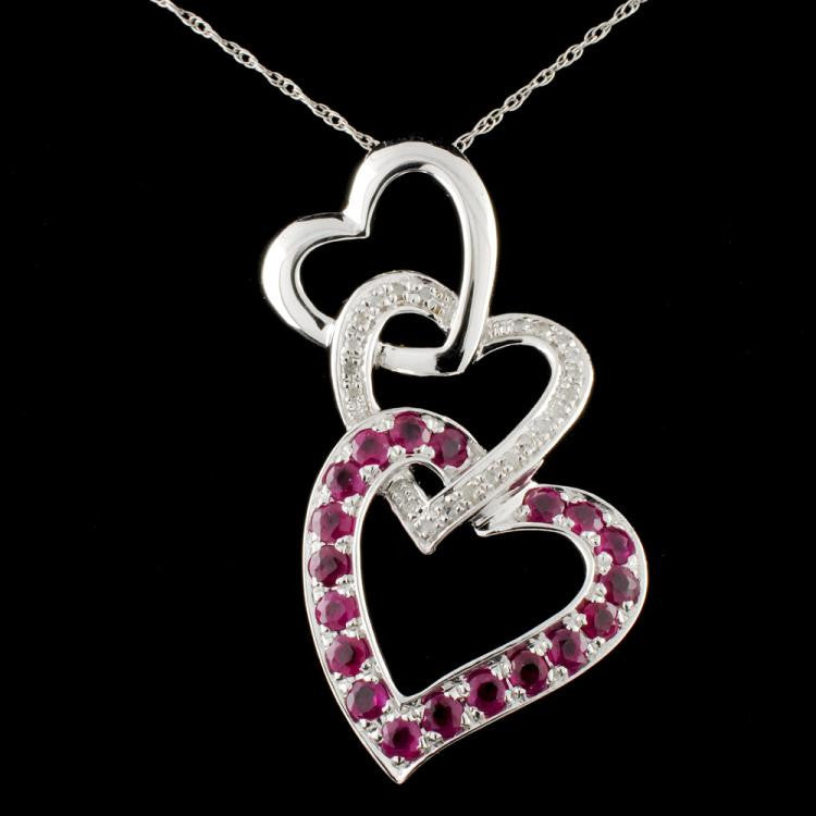 ruby, diamond and white gold necklace