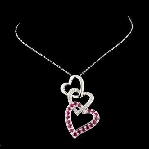 1.00 ct Ruby Hearts Ladies Necklace