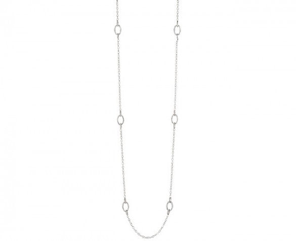 Sterling Silver Small Chain Link Bamboo Necklace in 42 inch