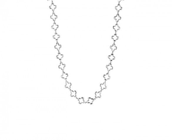 17 Inch Necklace in Sterling Silver with Quatrefoil links and toggle closure