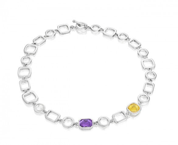 18 inch Etoiles Link Necklace in Sterling Silver with Faceted Amethyst, Citrine and White Topaz and Toggle Closure
