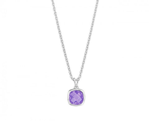 Etoiles Amethyst Pendant Necklace on 16 to 18 Inch Chain