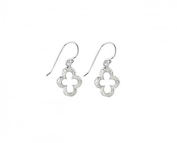 Quatrefoil Earrings in Sterling Silver on silver earwire with quilted texture drops 29mm long