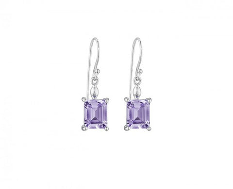 Sterling Silver Drop Earrings with two Emerald Cut Amethyst Drops