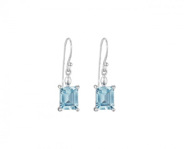 Sterling Silver with two Emerald Cut Blue Topaz Earrings