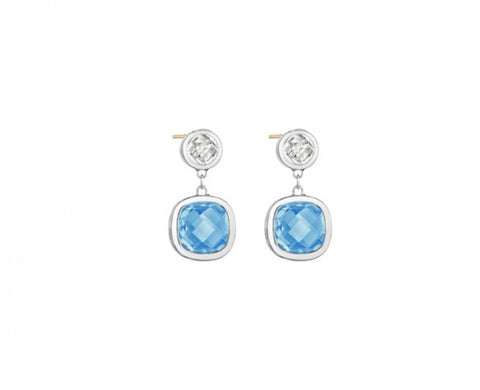 Etoiles Drop Earrings in Sterling Silver with Clear Quartz and Cushion-Cut Blue Topaz and 14K posts