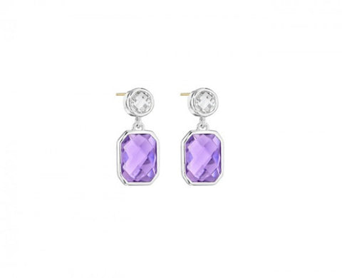 Etoiles Drop Earrings in Sterling Silver with Clear Quartz and Cushion-Cut Amethyst and 14K posts