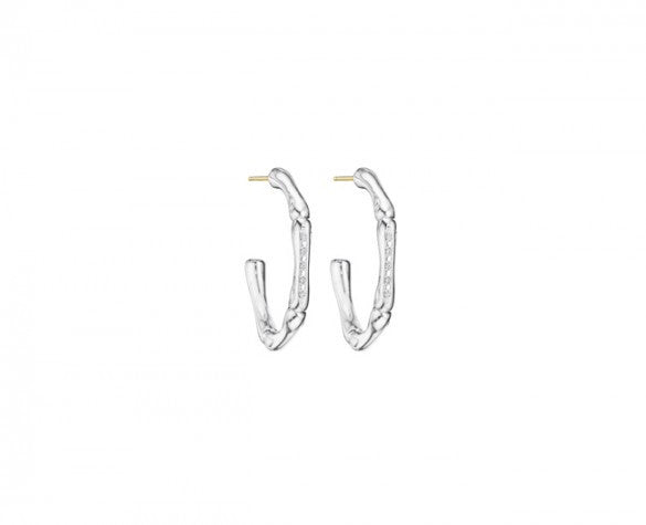 3mm Slender Bamboo Hoop earrings with Pave Diamonds and 14K posts