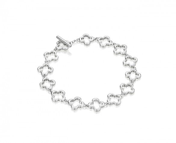 8 Inch Quatrefoil Link Bracelet in Sterling Silver with Toggle Closure