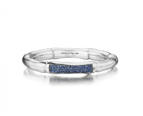 Sterling Silver 8mm Hinged Bamboo Bangle with blue Pave Sapphires
