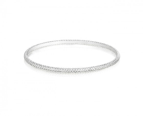 Round 3mm Burlap Textured Bangle in Sterling Silver