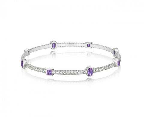Sterling Silver Burlap 3mm Bangle with Faceted Square Amethyst
